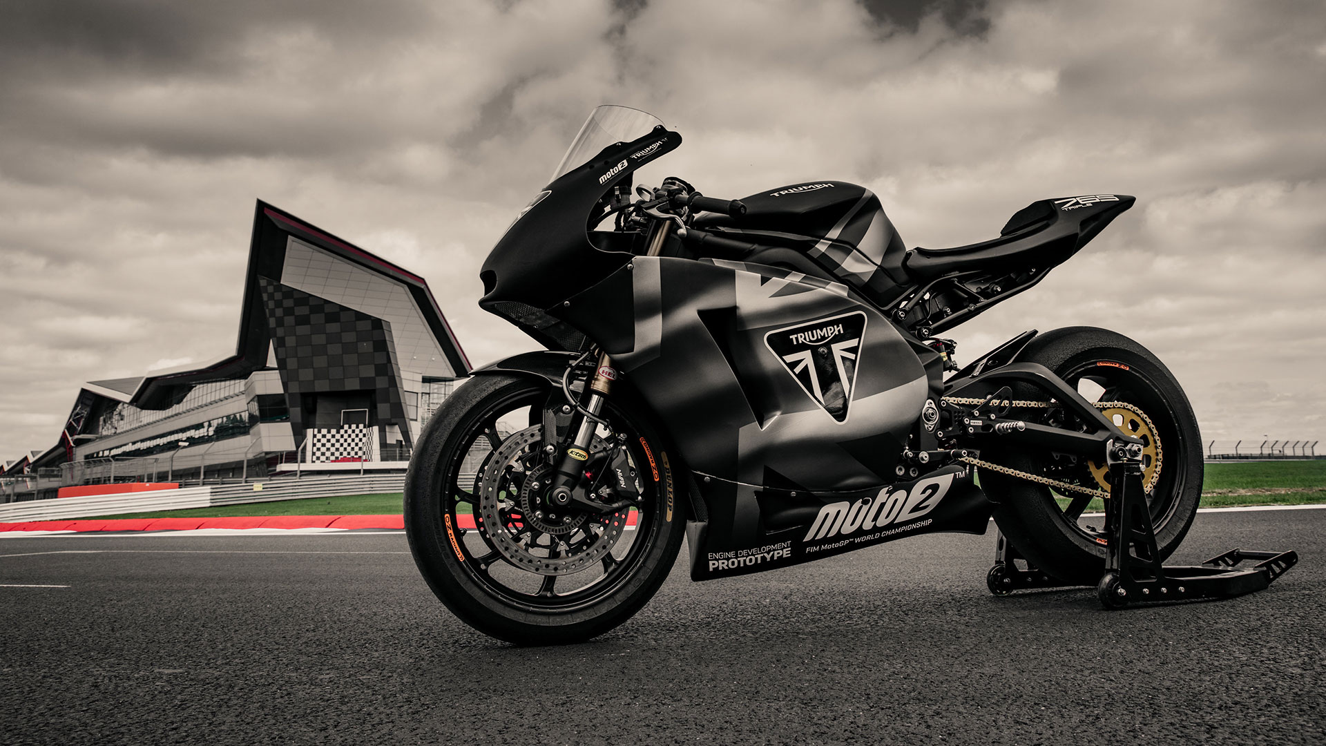 Moto2 bike with Triumph branding on track